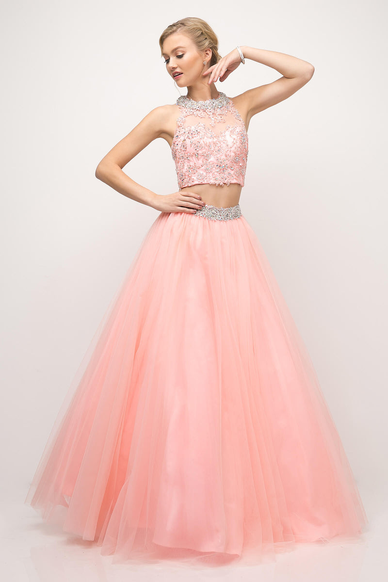 Two Piece Sexy Prom Long Gown