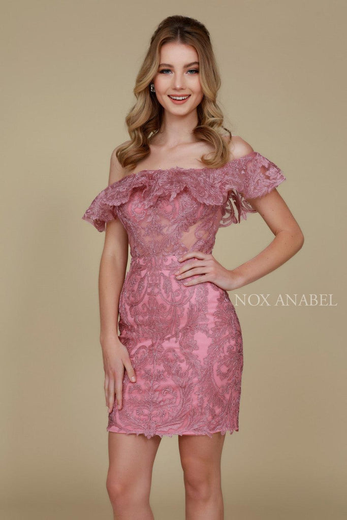 Short Ruffled Off The Shoulder Formal Cocktail Dress - The Dress Outlet Nox Anabel