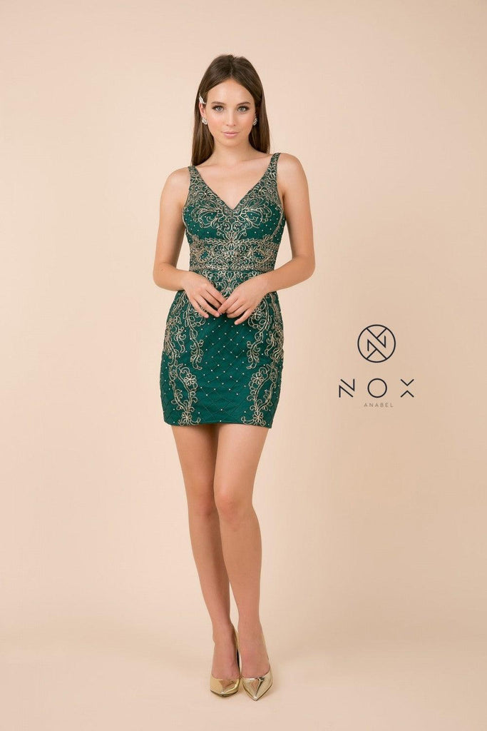 Short Sleeveless Fitted Prom Dress Homecoming - The Dress Outlet Nox Anabel