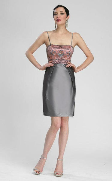 Sue Wong Short Taffeta Cocktail Party Dress - The Dress Outlet Charcoal Sue Wong