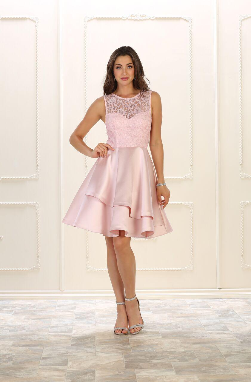 Short Prom Dress Homecoming Plus Size Cocktail - The Dress Outlet Blush