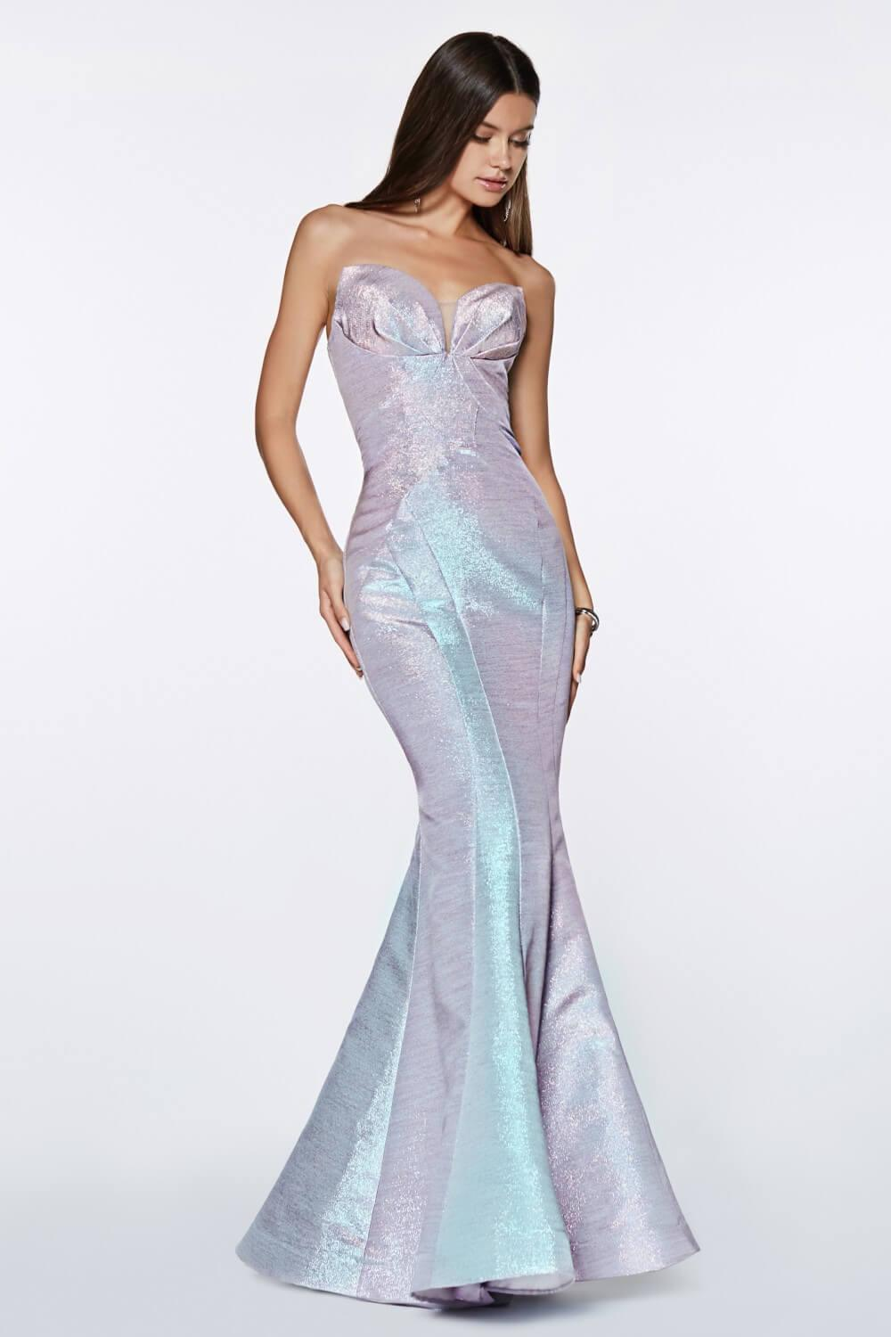 Strapless Long Metallic Mermaid Gown Prom Dress - The Dress Outlet Blue Cinderella Divine