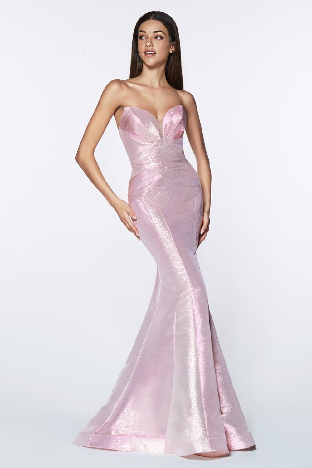 Strapless Long Metallic Mermaid Gown Prom Dress - The Dress Outlet Opal Pink Cinderella Divine