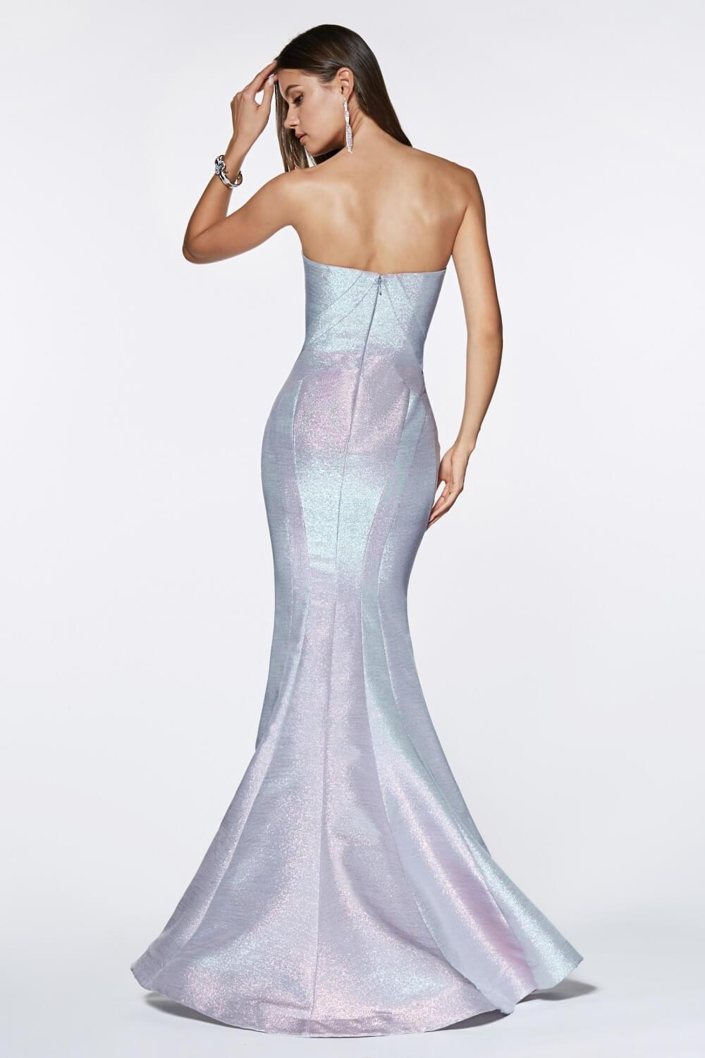 Strapless Long Metallic Mermaid Gown Prom Dress - The Dress Outlet