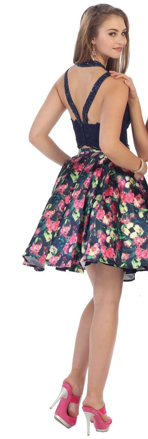 Short Two Piece Set Floral Print Prom Dress - The Dress Outlet