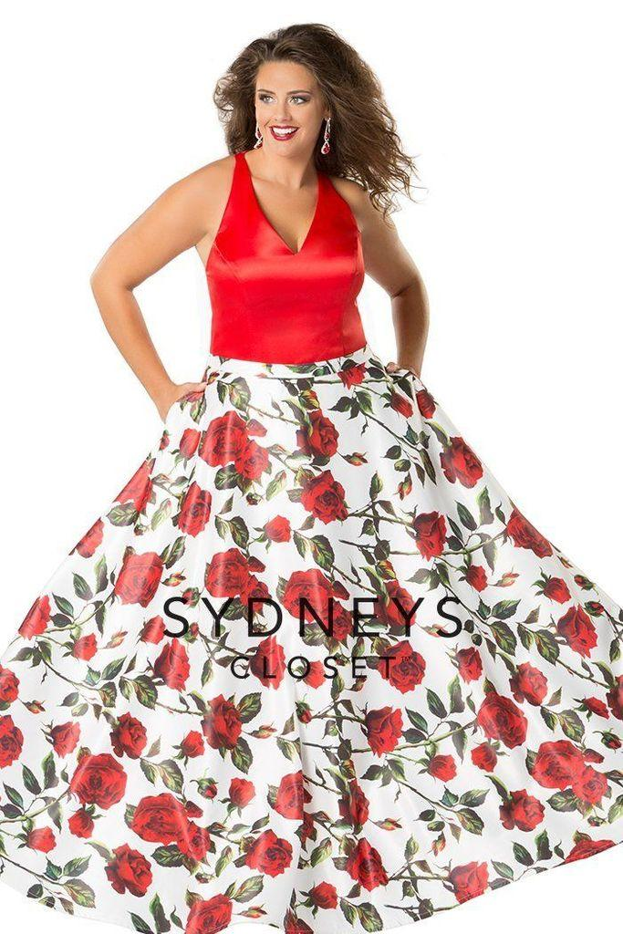 Sydneys Closet Long Floral Prom Evening Gown Dress - The Dress Outlet