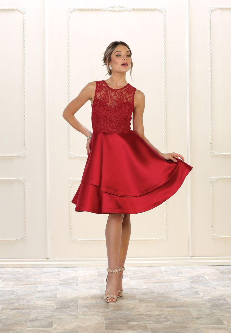 Short Prom Dress Homecoming Plus Size Cocktail - The Dress Outlet Burgundy