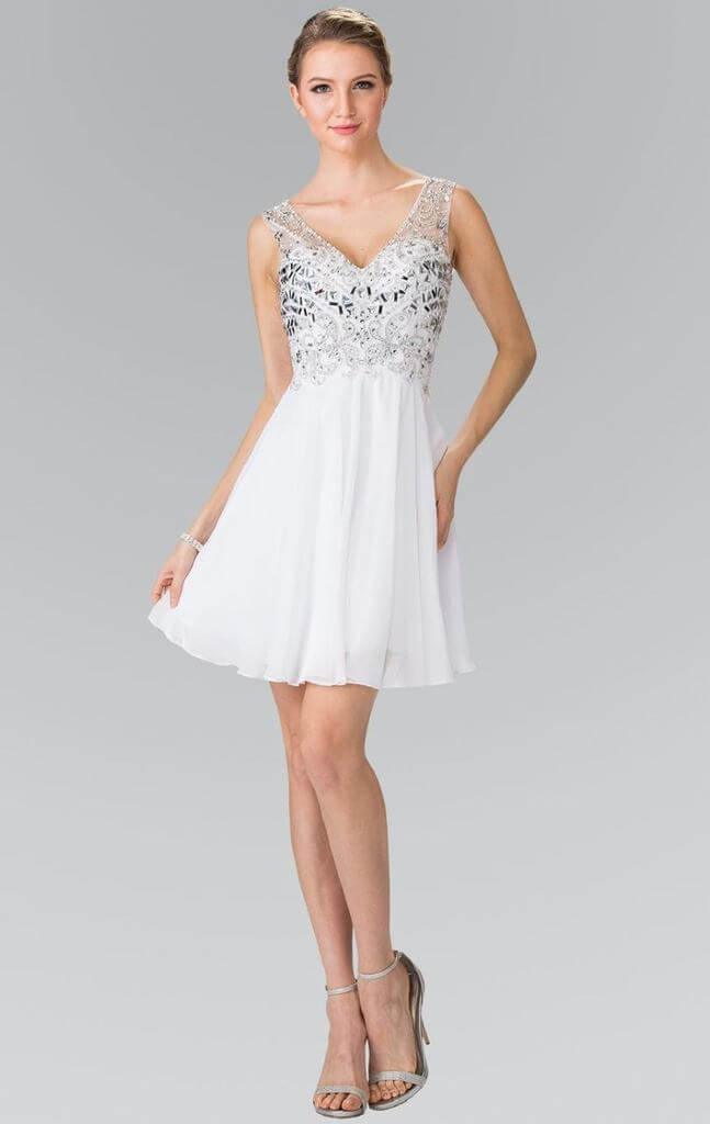 Sleeveless Cocktail Dress Prom Homecoming - The Dress Outlet White