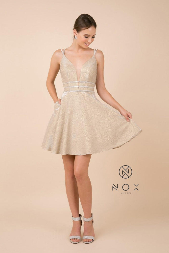 Short Prom Dress Sleeveless Cocktail - The Dress Outlet Nox Anabel