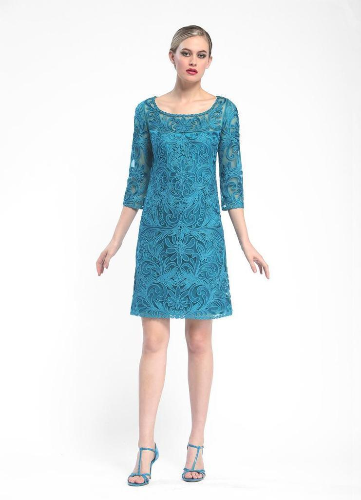 Sue Wong Formal Cocktail Dress - The Dress Outlet Teal