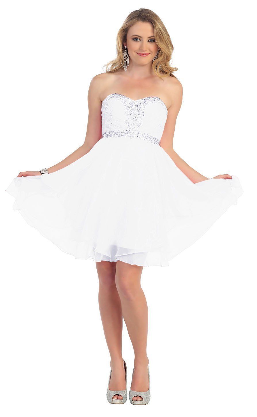 Short Prom Plus Size Homecoming Cocktail Dress - The Dress Outlet White
