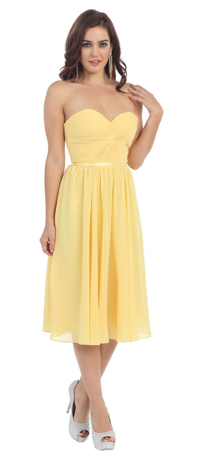 Short Prom Dress Plus Size Formal Cocktail - The Dress Outlet Yellow