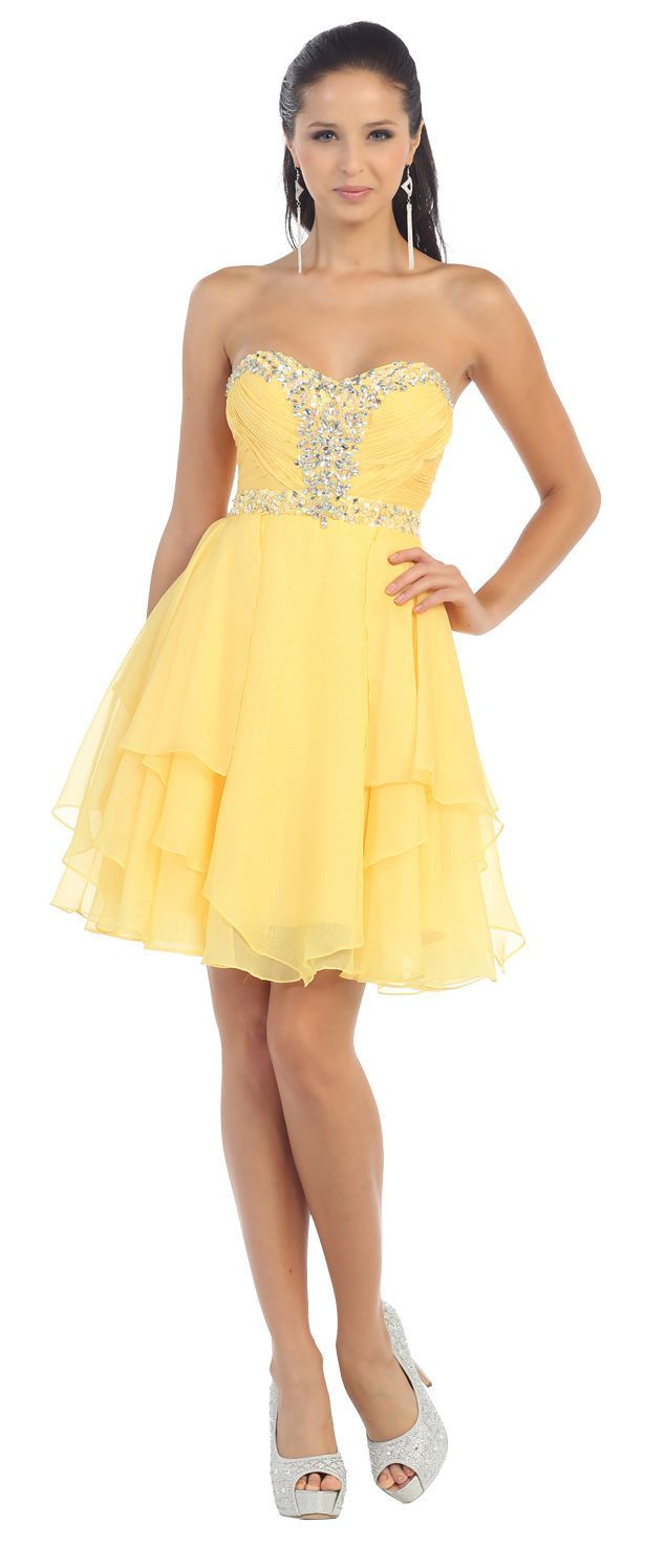 Short Prom Plus Size Homecoming Cocktail Dress - The Dress Outlet Yellow