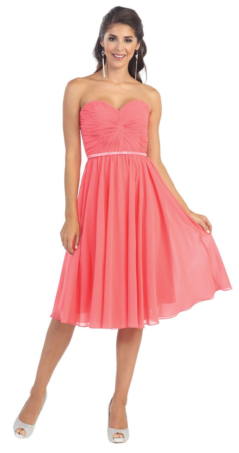 Short Prom Dress Plus Size Formal Cocktail - The Dress Outlet Coral May Queen