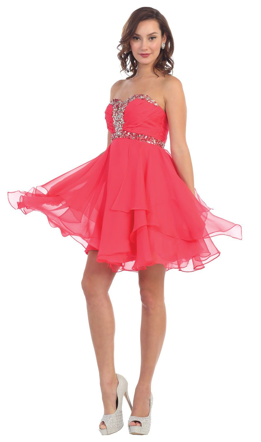 Short Prom Plus Size Homecoming Cocktail Dress - The Dress Outlet Coral