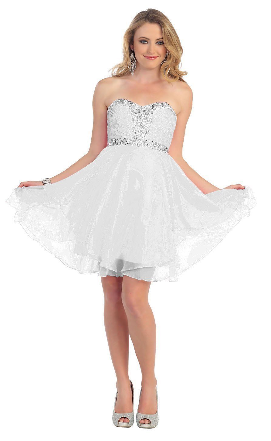 Short Prom Plus Size Homecoming Cocktail Dress - The Dress Outlet Silver