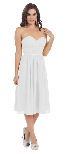 Short Prom Dress Plus Size Formal Cocktail - The Dress Outlet White May Queen