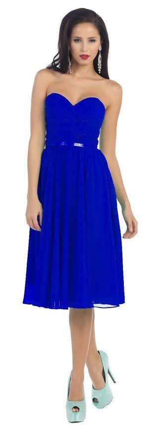 Short Prom Dress Plus Size Formal Cocktail - The Dress Outlet Royal Blue