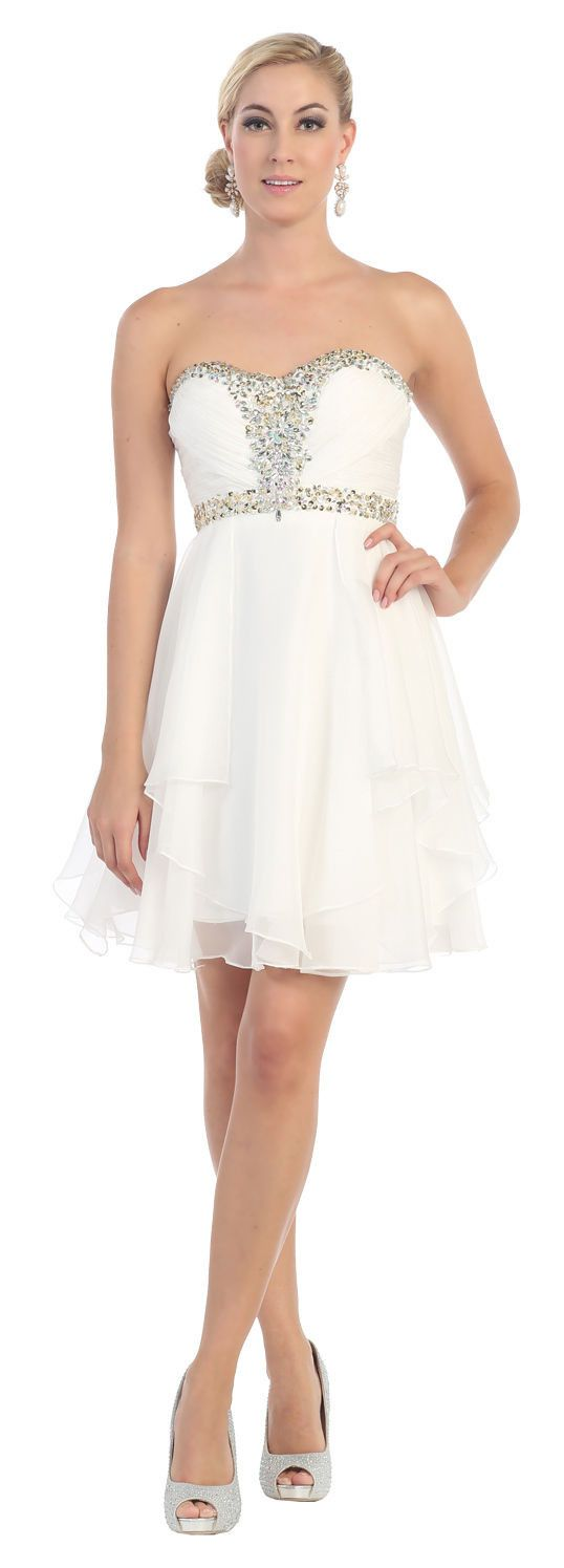 Short Prom Plus Size Homecoming Cocktail Dress - The Dress Outlet Ivory