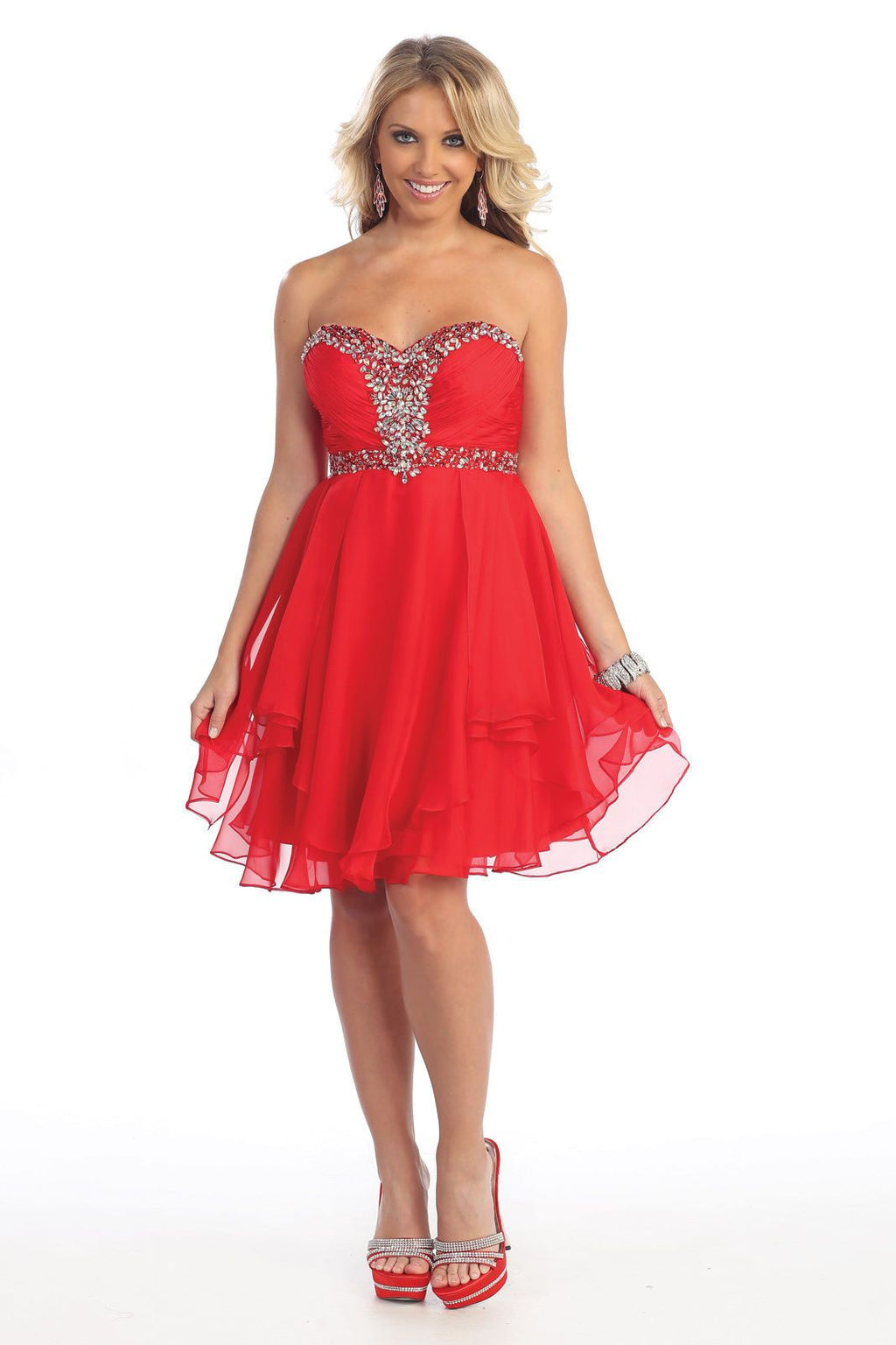 Short Prom Plus Size Homecoming Cocktail Dress - The Dress Outlet Red