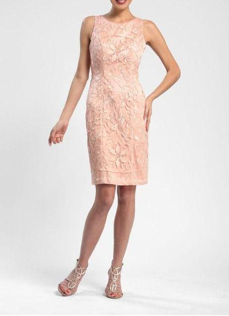 Sue Wong Short Cocktail Dress Semi-Formal - The Dress Outlet Peach