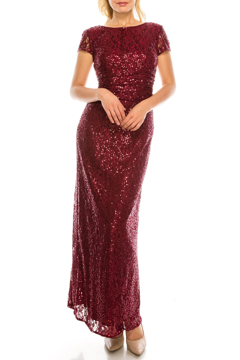 SLNY Long Formal Sequined Lace Column Evening Dress