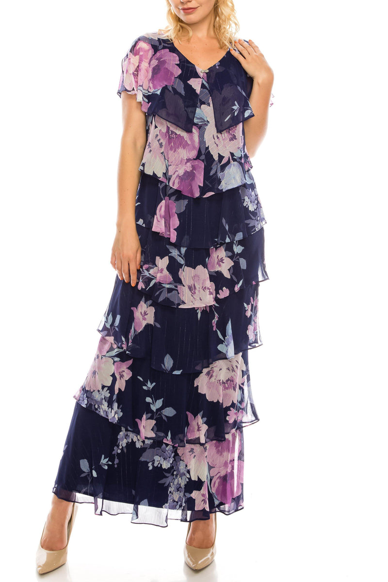 SLNY Long Formal Multi Floral Printed Tiered Dress