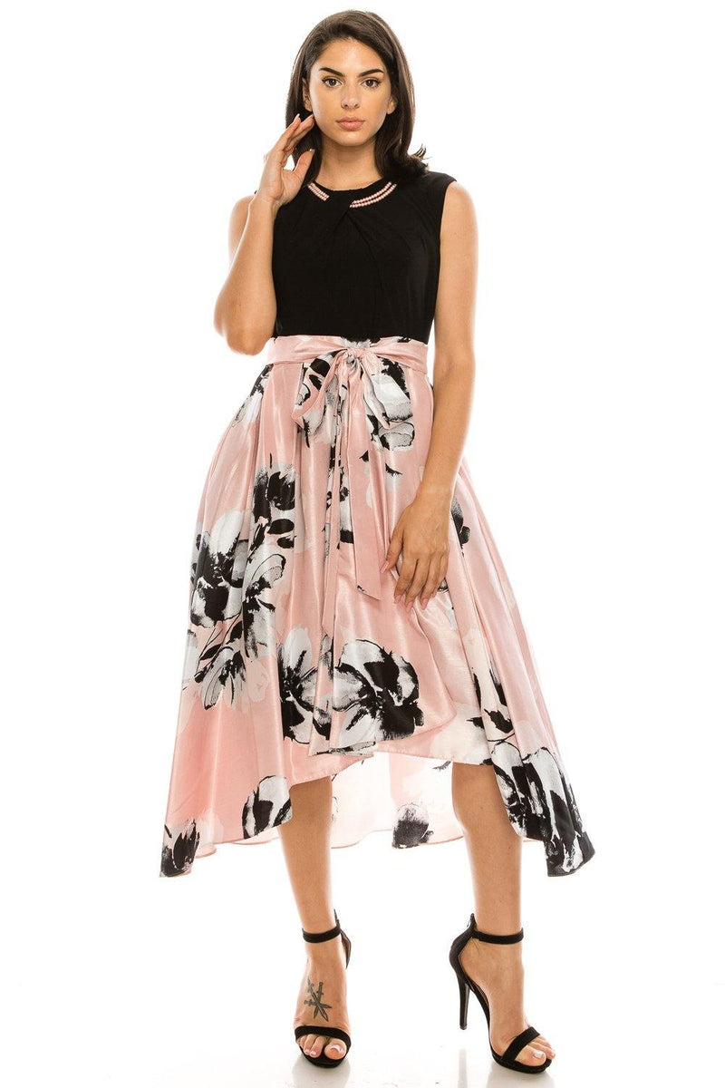 SLNY High Low Floral Print Evening Party Dress