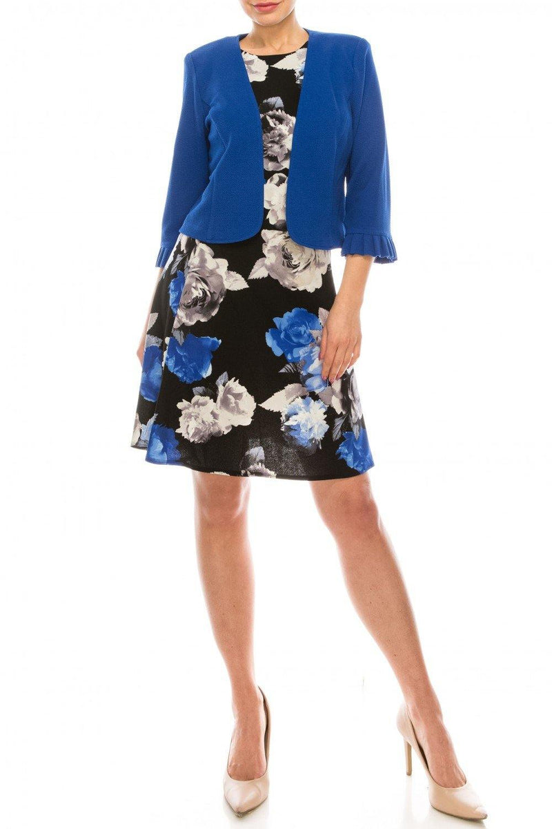 Studio One Cobalt Floral Printed Two Piece Jacket Dress