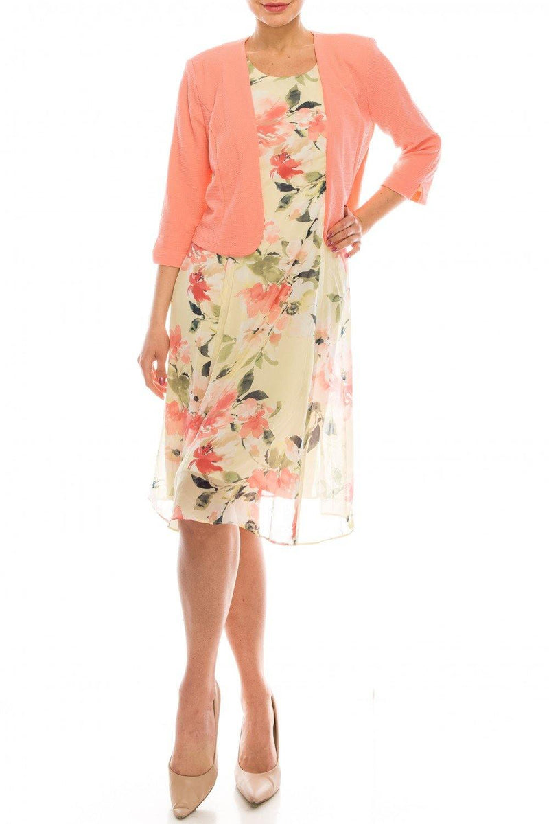 Studio One Floral Printed Two Piece Jacket Dress
