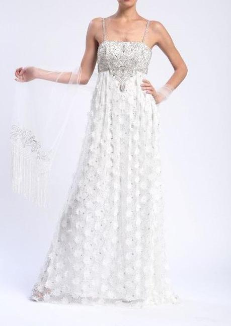 Sue Wong Long Formal Dress Evening Gown Prom Wedding - The Dress Outlet White