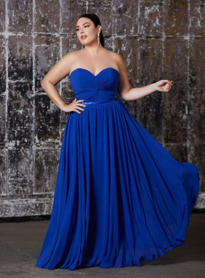 Strapless Chiffon Empire Waist Prom Dress - The Dress Outlet Royal