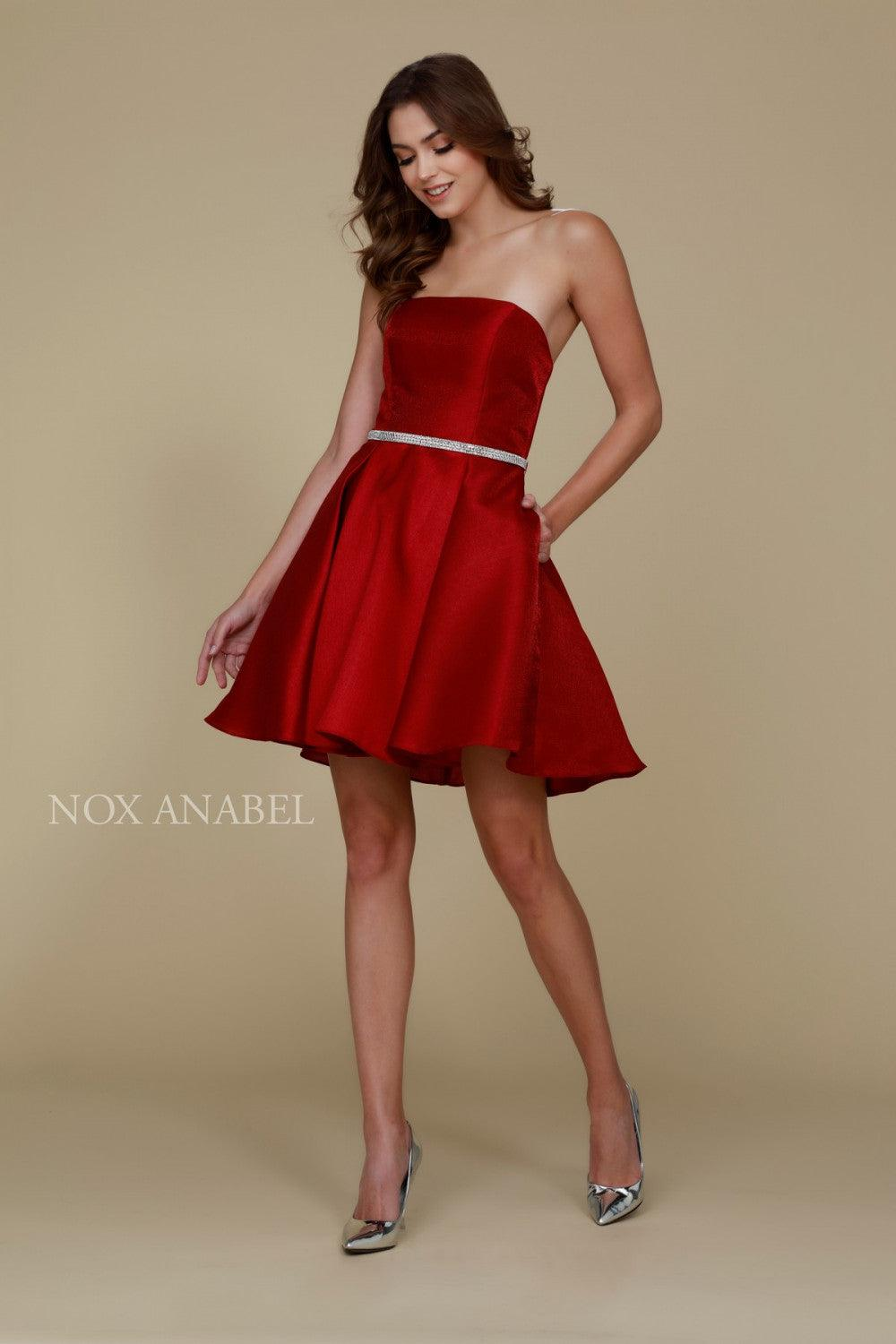 Short Satin Formal Prom Homecoming Dress with Pockets - The Dress Outlet Burgundy