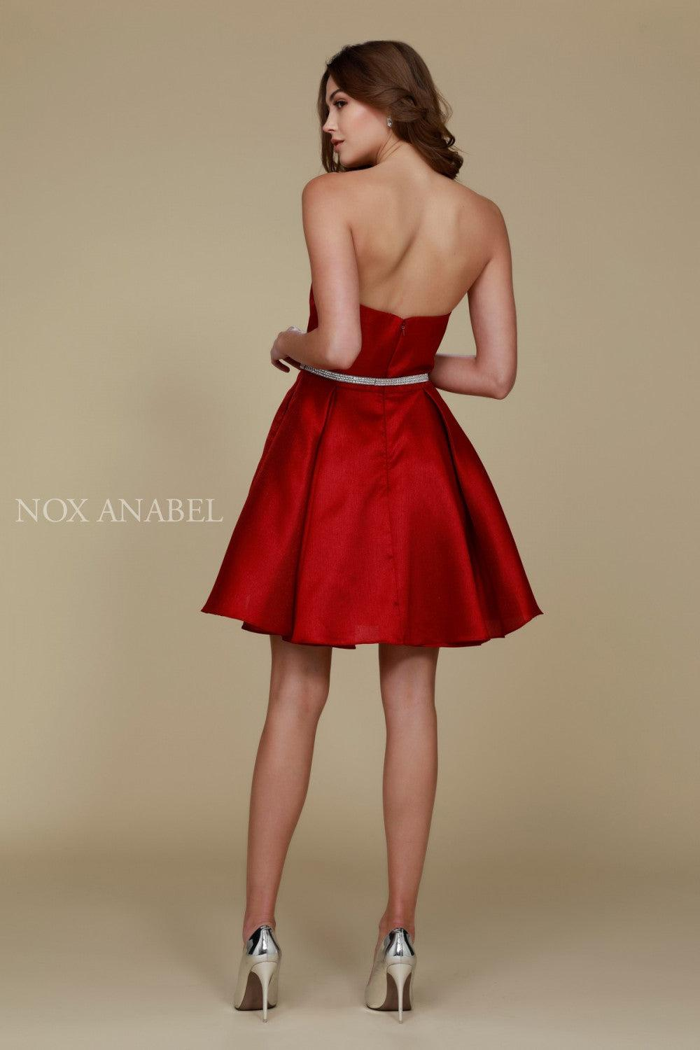 Short Satin Formal Prom Homecoming Dress with Pockets - The Dress Outlet