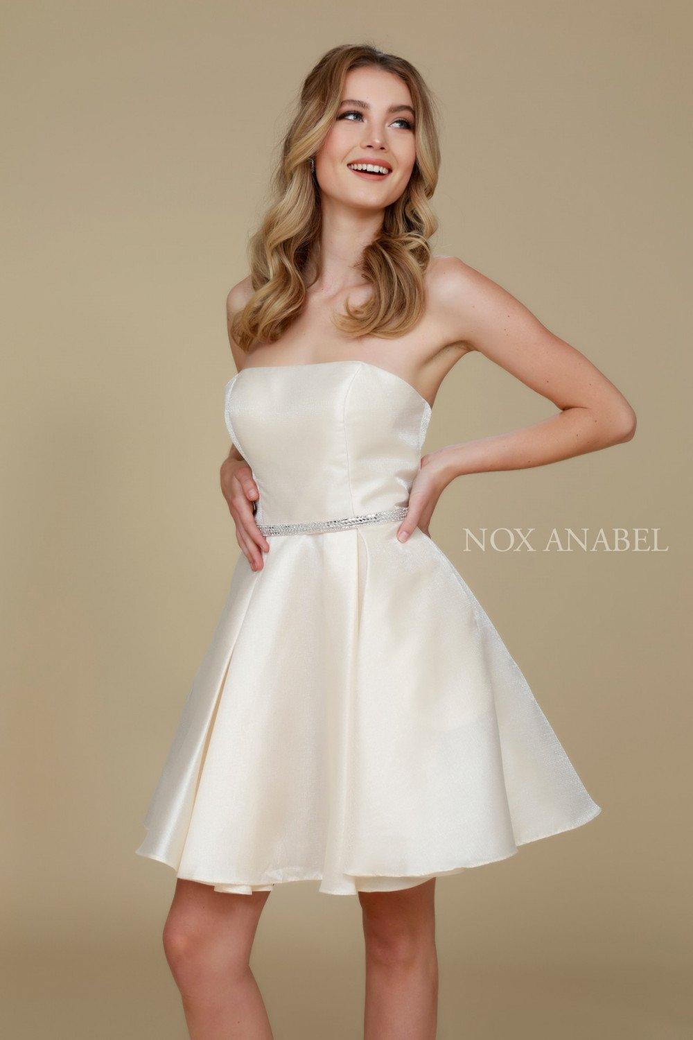 Short Satin Formal Prom Homecoming Dress with Pockets - The Dress Outlet Ivory
