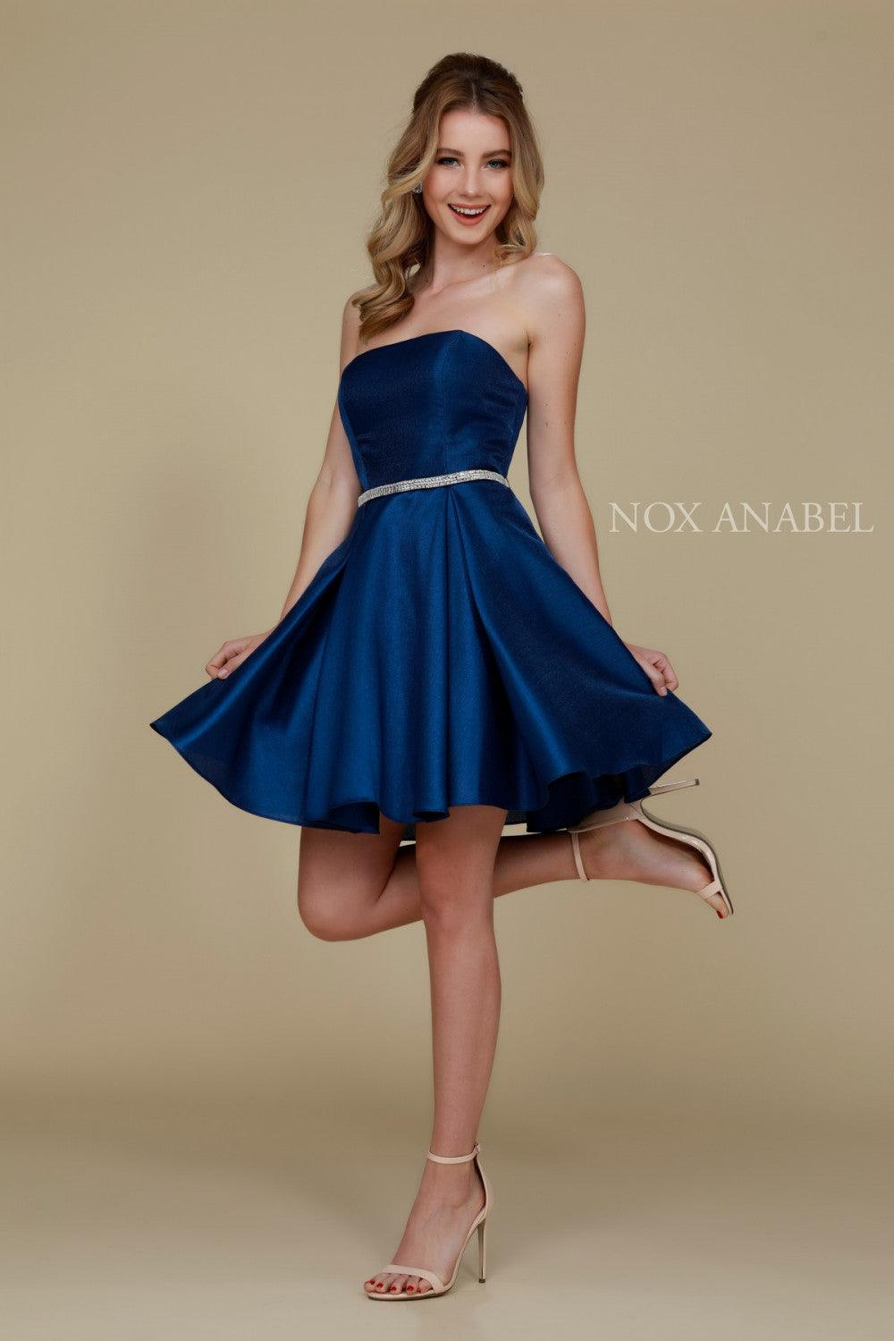 Short Satin Formal Prom Homecoming Dress with Pockets - The Dress Outlet Navy Blue