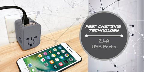 Travel adapter with USB ports