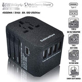USB TYPE C TRAVEL ADAPTER (4 USB A + 1 TYPE C PORT) (SAND BLACK) 150+ COUNTRIES TYPE C A G - JY-305P