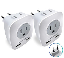 European Power Adapter (2 Pack) - w/ 2 USB Ports & 2 AC Outlets 2 pcs, 2 Pack