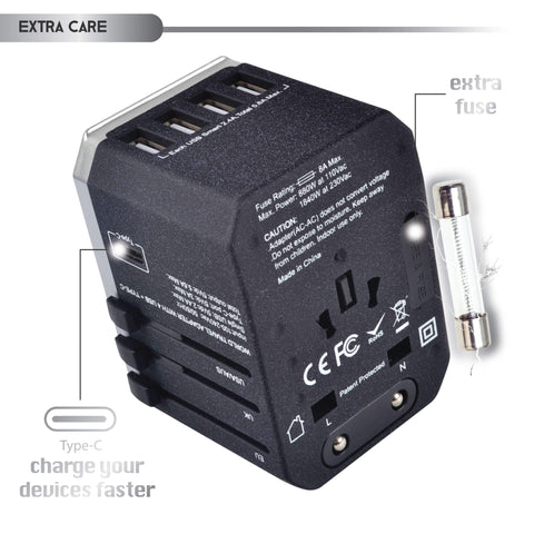 USB Type C Travel Adapter - International Travel (Sand Black Silver Fuse Box Usb Wall Charger on