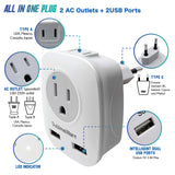 European Power Adapter w/ 2 USB Ports & 2 AC Outlets - USA to EU 1 Pack