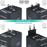 4 USB Ports Power Plug Adapter (SandBlack)