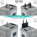 4 USB Ports Power Plug Adapter (Sand Silver)
