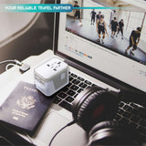 Travel Adapter (4 USB Ports) - (White Silver) for 150+ Countries - TYPE I, C, G, A outlets - JY-304