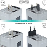 4 USB Ports Power Plug Adapter (Chrome)