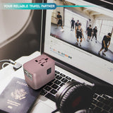 4 USB Ports Power Plug Adapter (RoseGold)