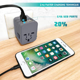 4 USB Ports Power Plug Adapter (SandGrey)