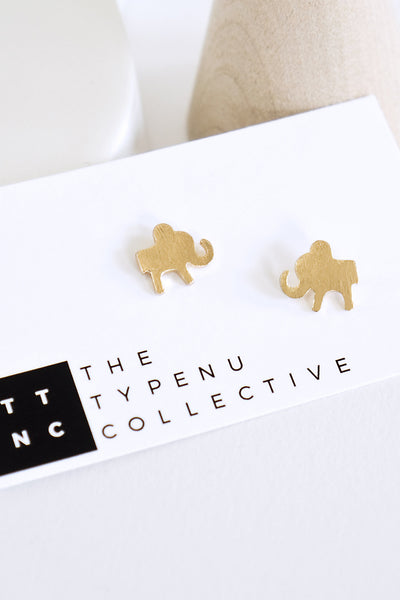 Mini Flat Elephant Earrings - TYPENU Co - 1
