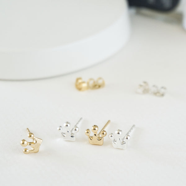 Tiny Crown Stud Earrings - TYPENU Co - 1