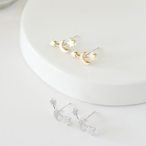 Linked Moon and Stars Stud Earrings - TYPENU Co - 1